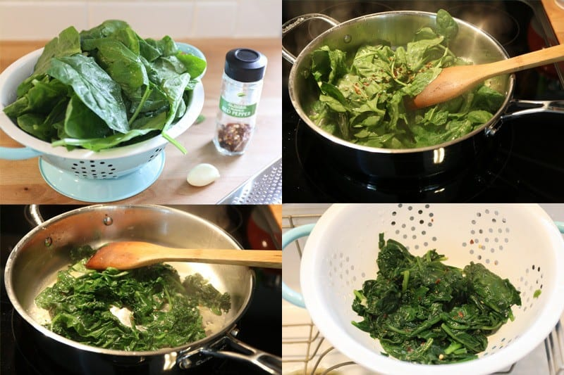 Spinach in a aqua colander, spinach sautéing in a pan