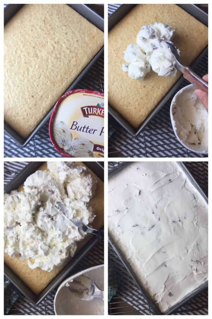 Turkey Hill Butter pecan ice cream being spread on yellow cake