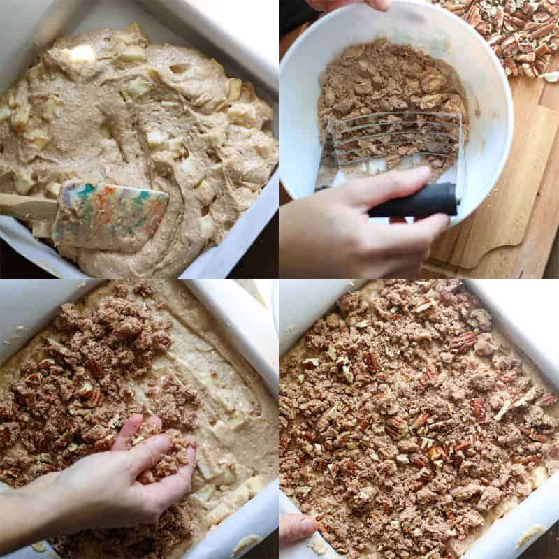 Apple cake batter in a parchment lined pan, streusel topping with a pastry blender, streusel topping sprinkled on top of cake batter