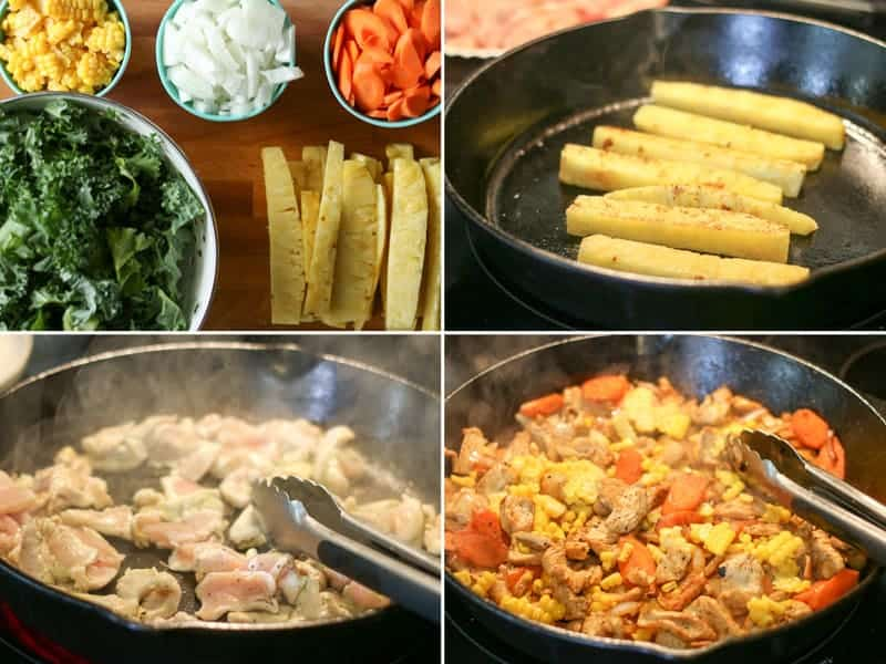 Steps to making a Jalapeño green curry bowl stir fry meal, kale pineapple, corn carrots, and chicken prepped on a board and cooking in a cast iron pan.