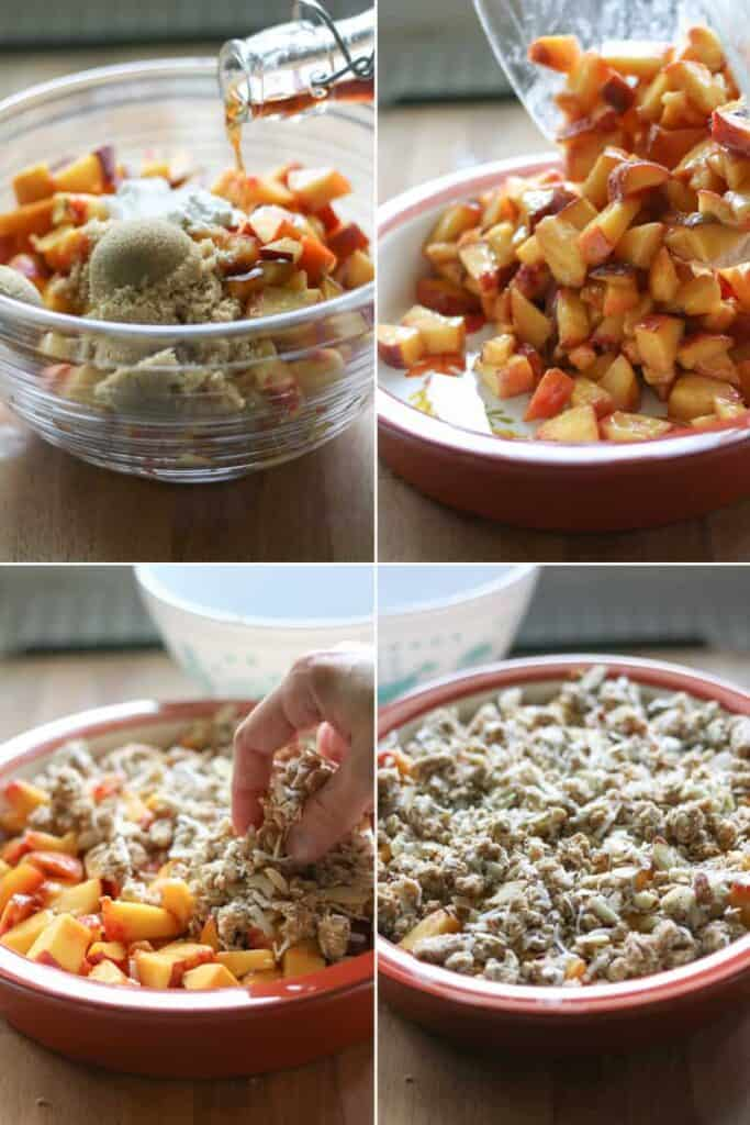 steps to make peach crisp, peaches in a bowl, peach crisp unbaked in a dish.