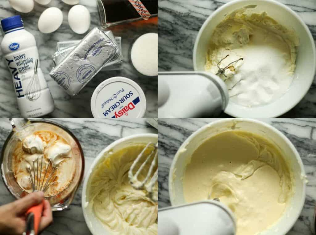 Cheesecake ingredients, cream cheese, whipping cream, eggs on marble surface, mixing cheesecake filling