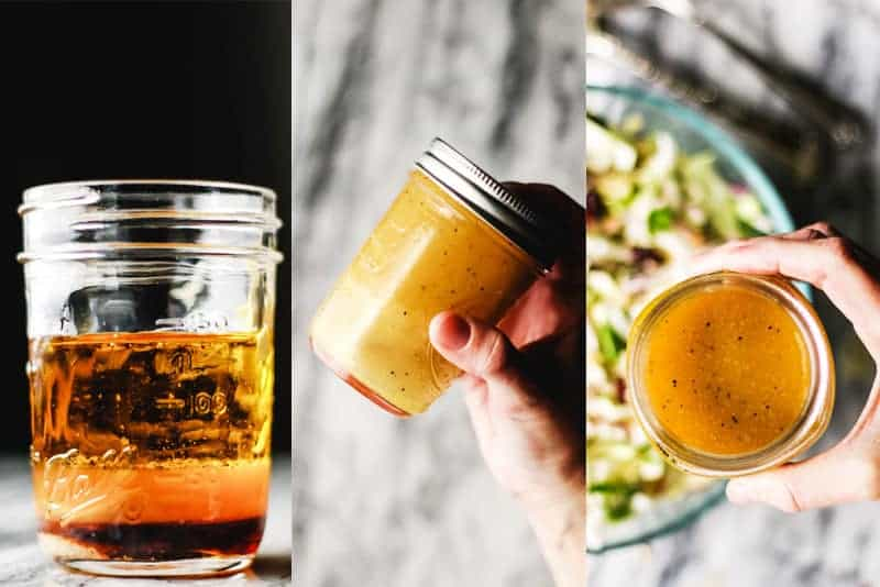 Apple cider vinaigrette ingredients layered in a mason jar, and shaken