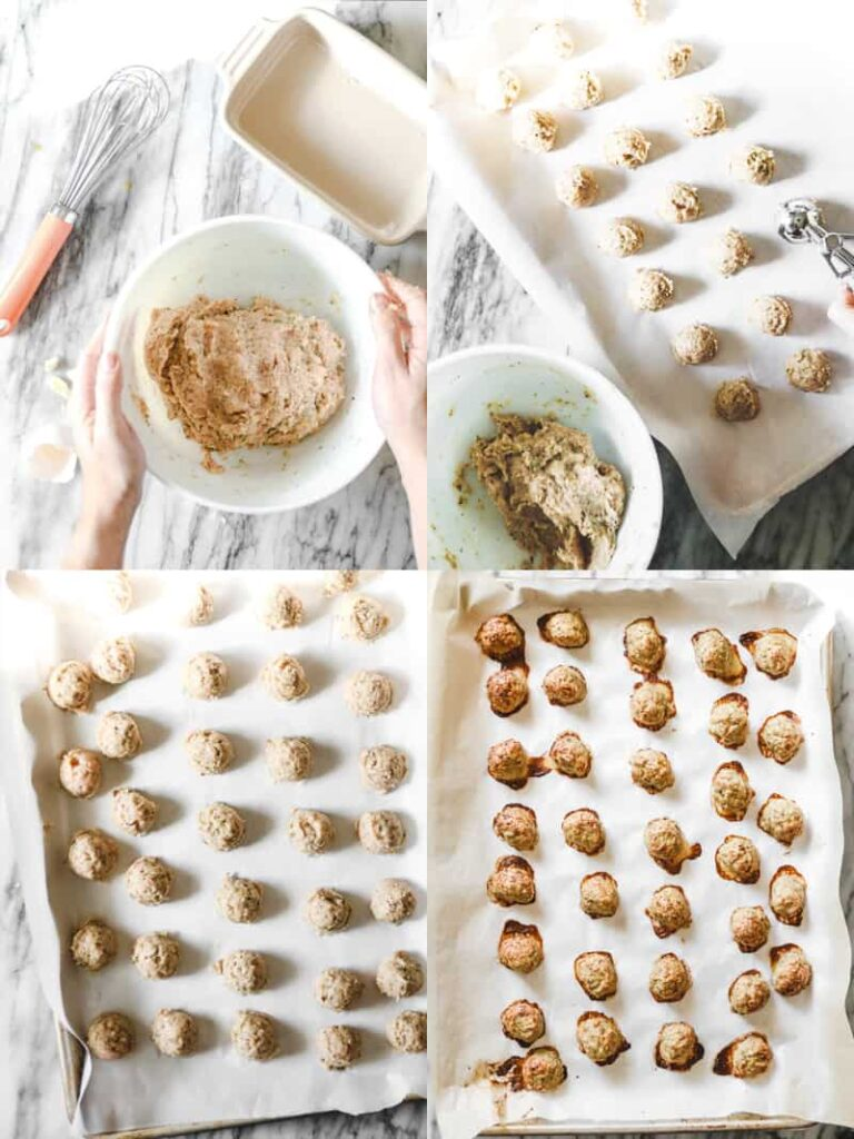 baked chicken meatballs scooped out onto parchment lined baking sheets