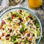 Cranberry Almond Thanksgiving Slaw, apple cider vinaigrette on the side