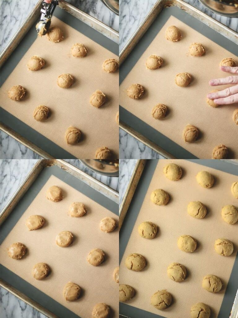 pumpkin spice cookie batter portioned out on silicone lined baking sheets