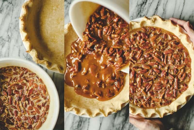 pumpkin pecan pie filling being poured into a baked crust, hands holding the pie