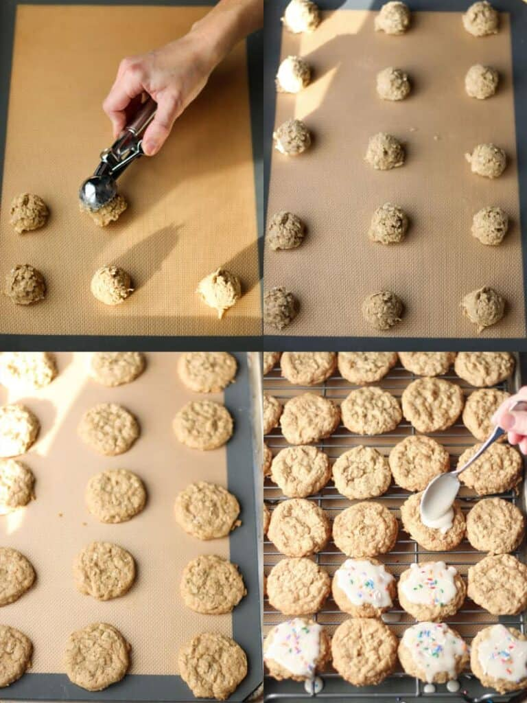 dropping cookies on baking sheet, baked cookies, icing the cookies