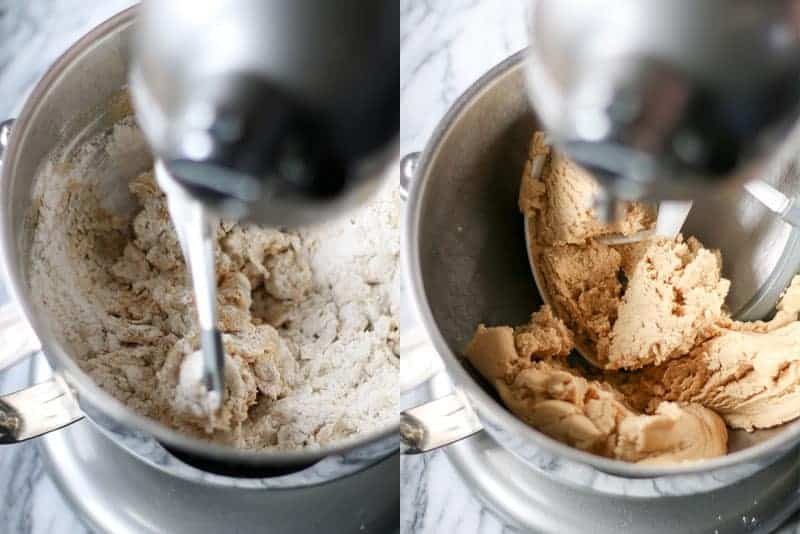 mixing in dry ingredients in a stand mixer