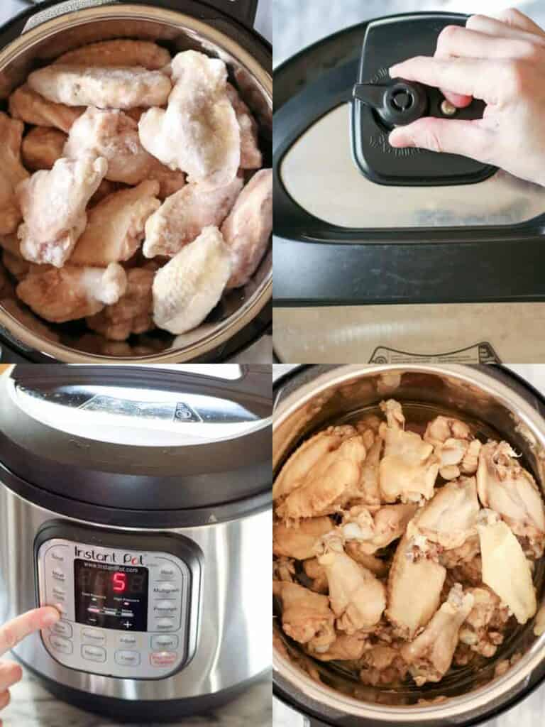 Chicken wings in an instant pot, set to 5 min, showing raw then cooked.