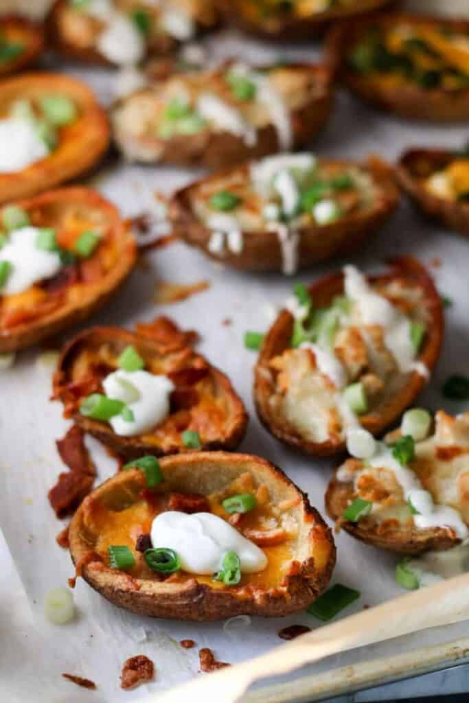 traditional loaded potato skins with bacon and cheddar