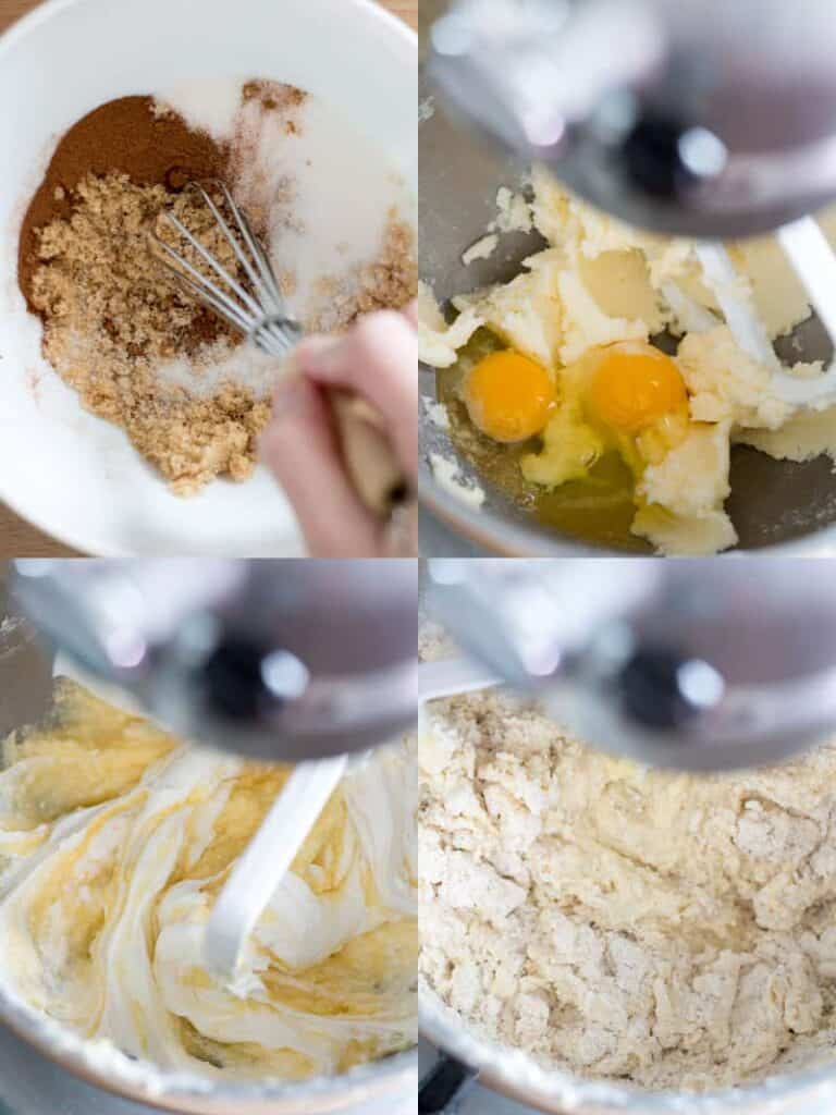 steps to making the cake: mixing filling ingredients, creaming butter sugar and eggs, mix in sour cream, then baking mix.