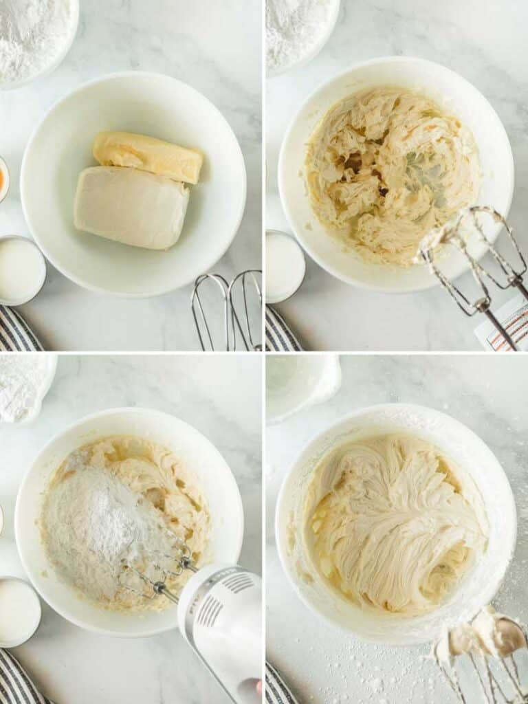 Steps to make cream cheese frosting.