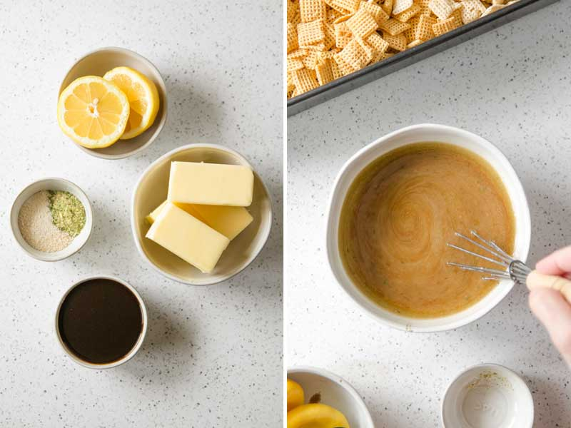 Butter, lemon, Worcestershire sauce, and spices, melted and mixed together.