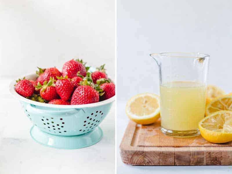 Strawberries in blue colander and freshly squeezed lemon juice.