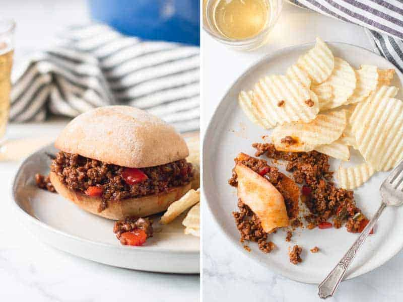 A sloppy Joe on a gluten-free bun and a messy plate with a mostly eaten sloppy Joe with chips on the side.