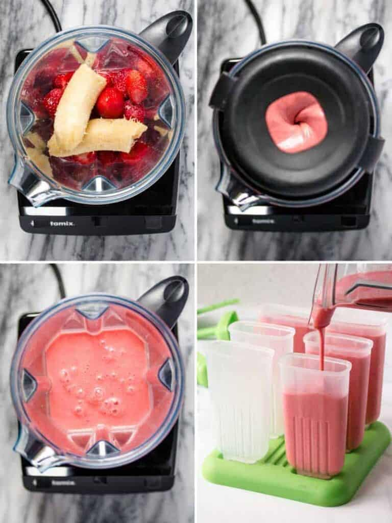 Strawberries and banana in a blender, blended, and then poured into popsicle molds.