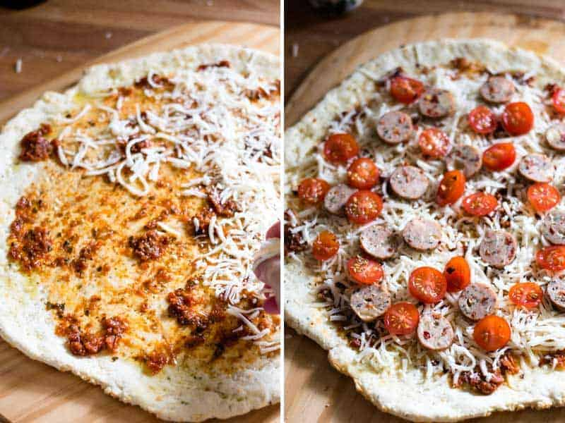 Topping the pizza with sun-dried tomato pesto, mozzarella cheese, sliced grape tomatoes, and sliced Gilbert's Caprese chicken sausage.