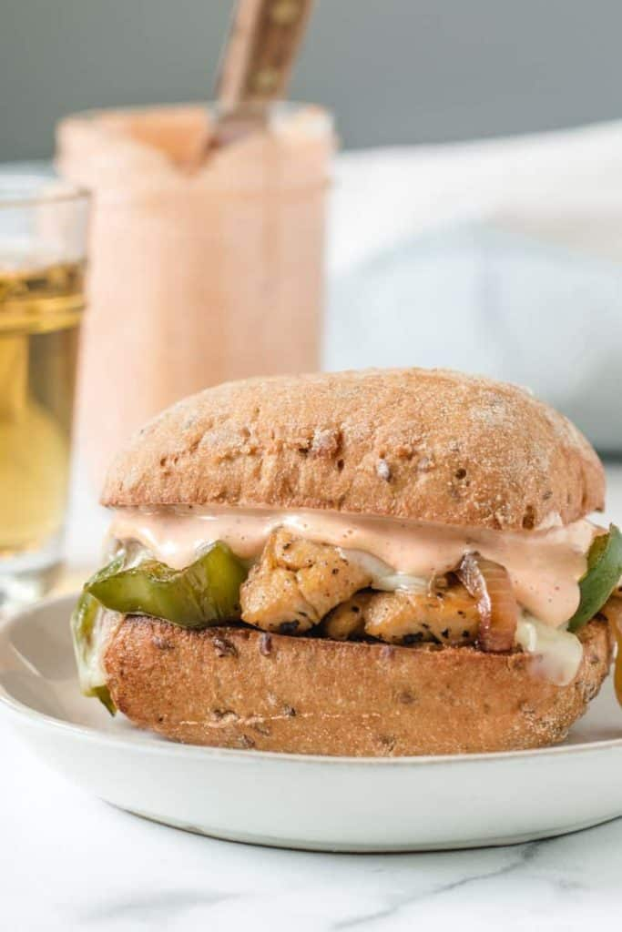 Gluten-free Chipotle Chicken Cheesesteak on Schar Multigrain Ciabbata roll.