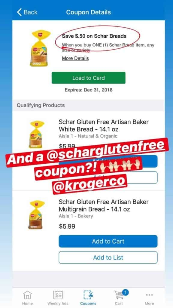 Digital coupon deal in Kroger app.