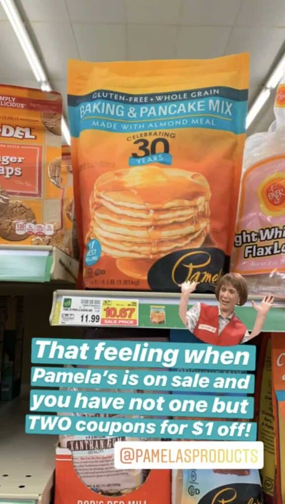Pamela's Baking and Pancake mix on store shelf, sale price 10.67 before $2 coupon.