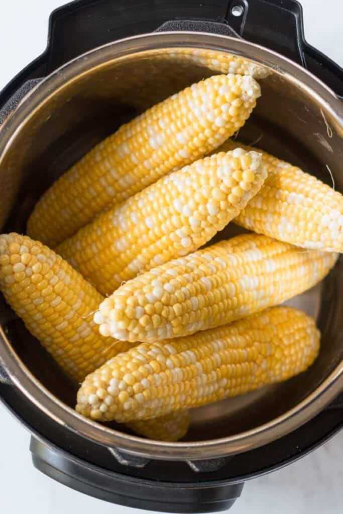 Fresh ears of corn arranged to fit in the Instant Pot.