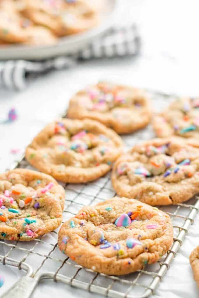 Magical Sprinkle Unicorn Cookies on a wire rack.