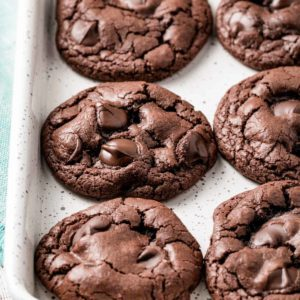 A pan full of gluten-free double chocolate chip cookies.