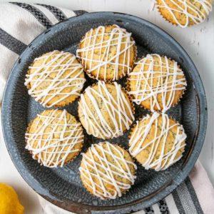 GF Lemon Poppy Seed Muffins in old enamelware pie tin.
