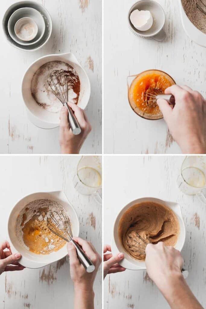 Collage: 1. Whisking dry ingredients, 2. Whisking wet ingredients. 3 Stirring the wet into the dry. 4 The final batter.