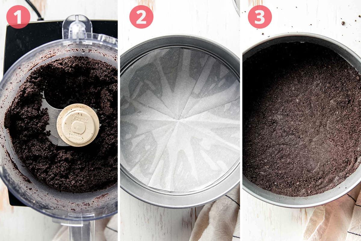 Oreo crumbs in food processor, parchment in bottom of pan, crust in bottom of springform pan.