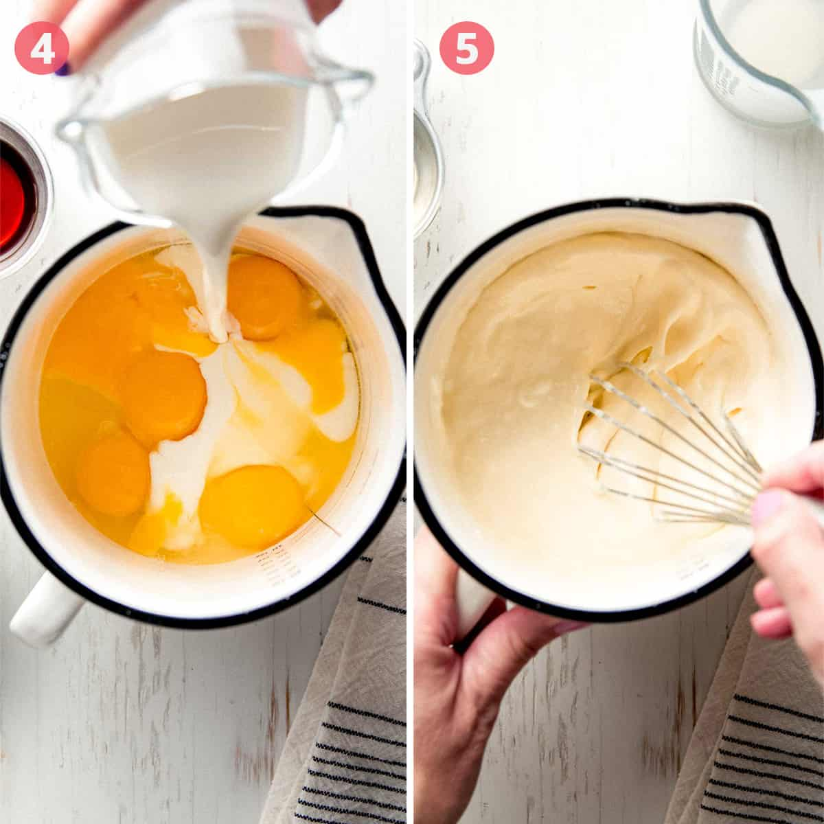 Pouring cream into eggs in a bowl, whisking the wet mixture.