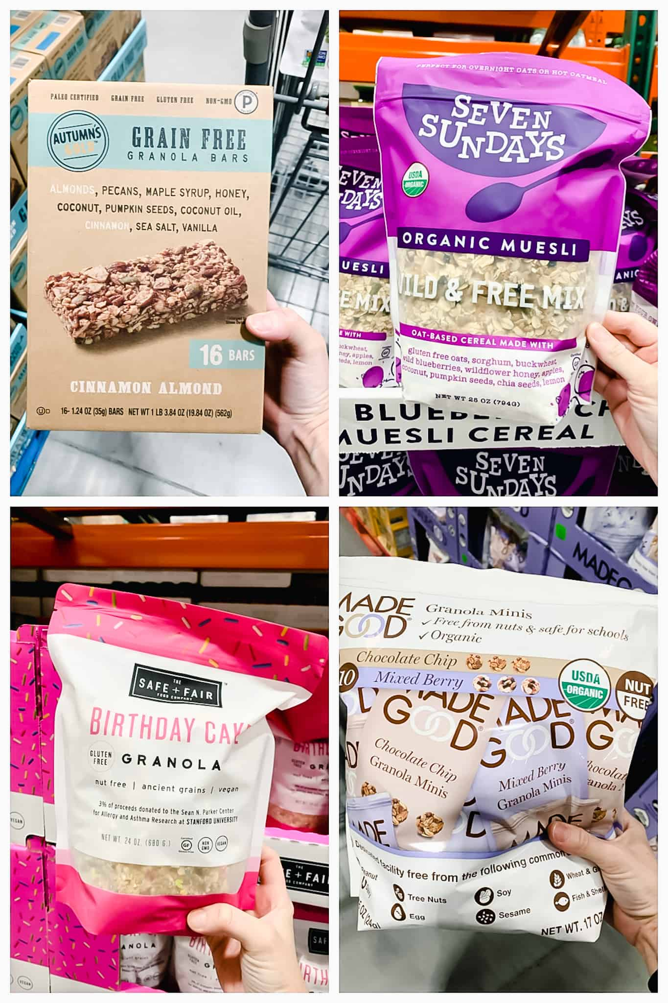 Autumns gold granola bars, seven Sundays muesli, safe and fair granola, made good granola minis held by a hand in Costco.