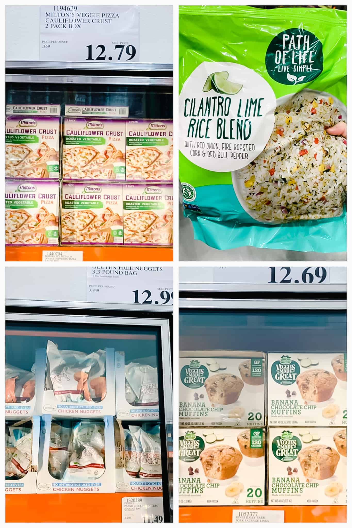 Miltons gluten free pizza, path of life rice blend, gluten free chicken nuggets, and veggies made great muffins in freezer case at Costco.