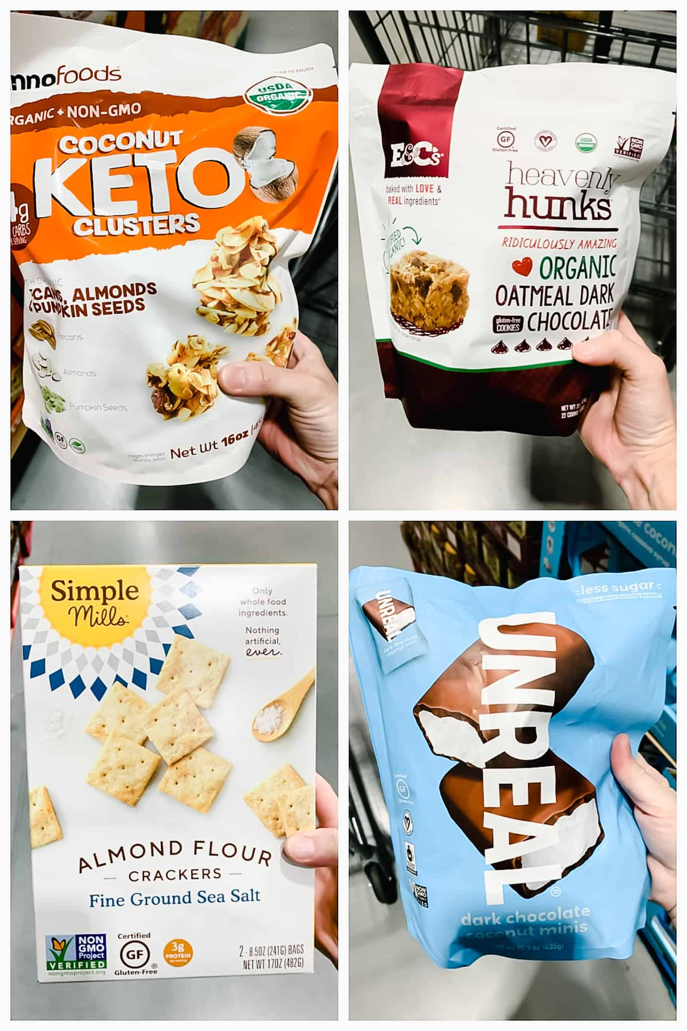 Keto clusters, heavenly hunks, simple mills almond crackers, and unreal bars held by hand inside Costco.