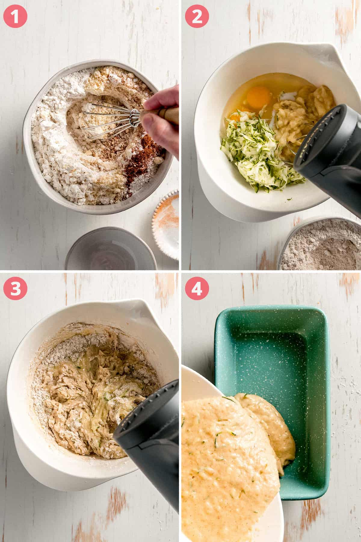 Image collage: mixing dry ingredients, blending wet ingredients, blending all together, pouring into a loaf pan.