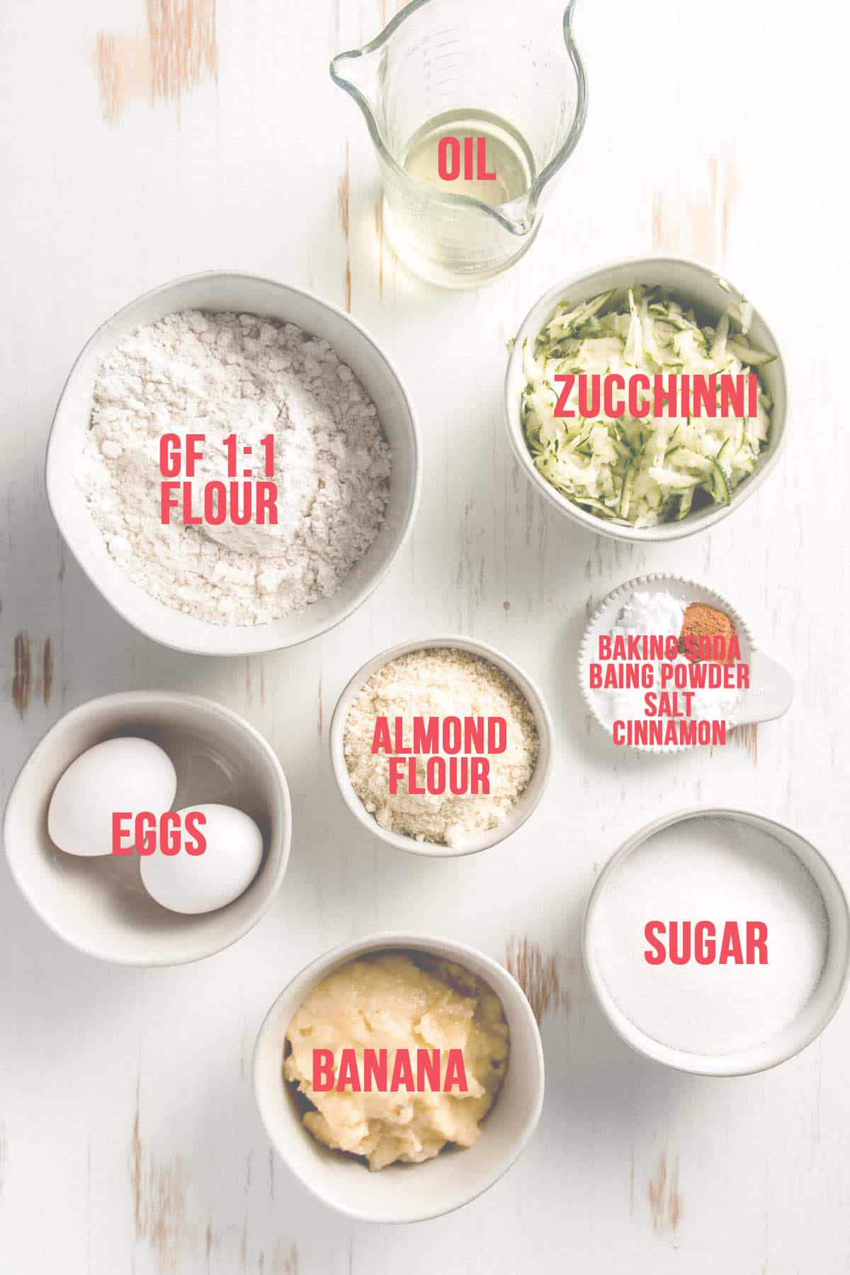 The recipe ingredients measured out in bowls.